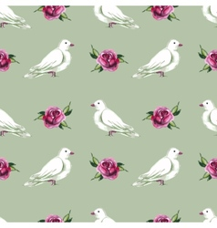 Watercolor seamless pattern with white doves vector