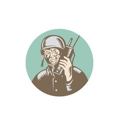 World war two soldier american talk radio circle vector