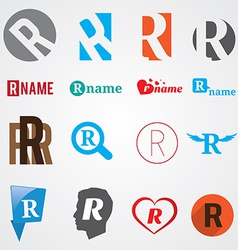 Set of alphabet symbols of letter r vector
