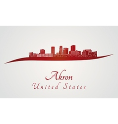 Akron skyline in red vector