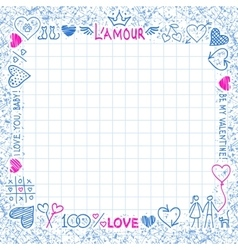 Hand drawn frame from love elements and cute vector