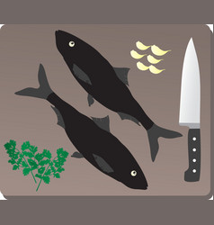 Delicious fresh fish on a wooden board vector