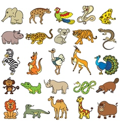Cute zoo animals collection vector