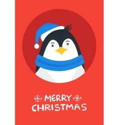Merry christmas card with penguin vector