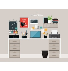 Flat design of home office interior with desk vector