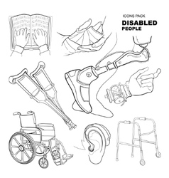 Hand drawn pictures for disabled people vector