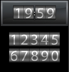 Number set from 1 to 9 digital clock dark vector