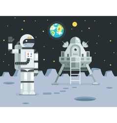 Cosmonaut astronaut landing planet lander icon on vector