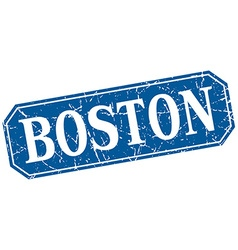 Boston blue square grunge retro style sign vector