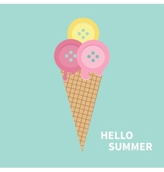 Ice cream with buttons hello summer greeting card vector