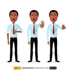 African american business man showing stop vector