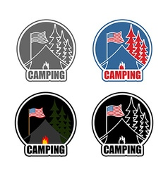 American Camping logo set day and night Emblem for vector image vector image
