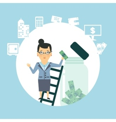 bank employee to keep money in the glass jar vector image