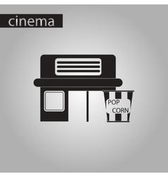 Black and white style icon building cinema popcorn vector