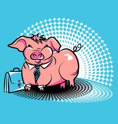 Business smug piggy vector