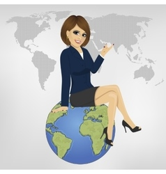 Businesswoman sitting on globe showing something vector