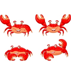 Cartoon crab collection set isolated vector image vector image