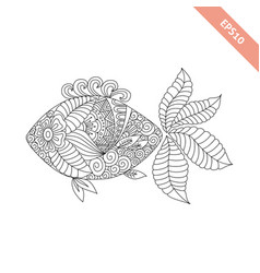Cartoon fish with floral ornament vector