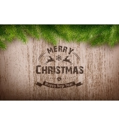 Christmas emblem on wooden texture vector