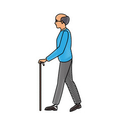 Drawing elderly man walking stick cane vector