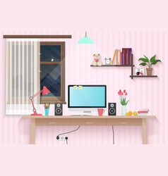 female teenager room with workplace sweet girl vector image vector image