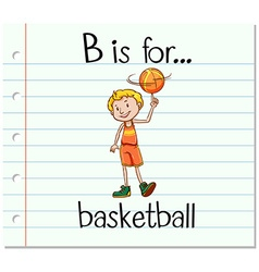 Flashcard letter b is for basketball vector