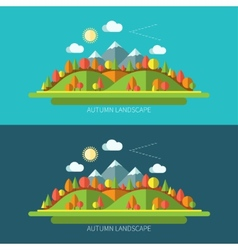 Flat design autumn nature landscape vector