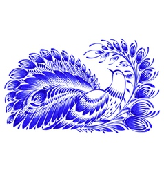 Floral decorative ornament peacock vector