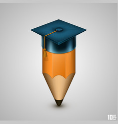 Graduate hat and pencil vector