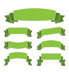 Green banners set decoration ribbons vector image vector image