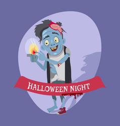 Halloween night crazy zombie vector