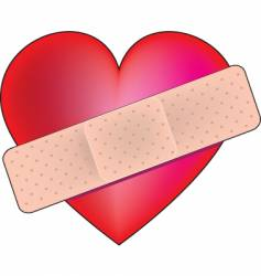 heart bandaid vector image vector image