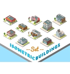 Isometric buildings set isolated on white vector
