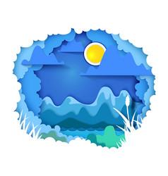 landscape paper art concept vector image
