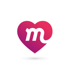 Letter m heart logo icon design template elements vector