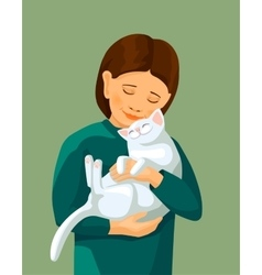 little girl embracing white cat vector image vector image