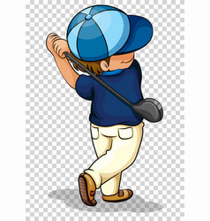 Man playing golf on transparent background vector