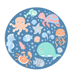 ocean set with cute sea animals on a round card vector image vector image
