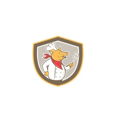 Pig chef cook holding spatula shield cartoon vector