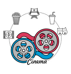 Reel scene and filmstrip with short film icons vector