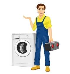 Repairman holding next to a washing machine vector