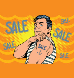 sailor with sale tattoo on hand vector image