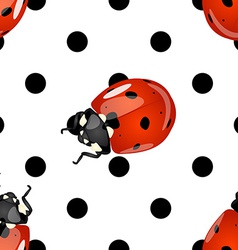 Seamless ladybugs and polka dots pattern vector