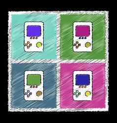 Set of flat shading style icons tetris portable vector