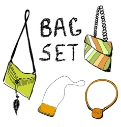 Set of hand draw bags of women vector image