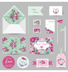 Set of wedding stationary - invitation card rsvp vector