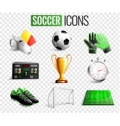soccer icons transparent background set vector image vector image