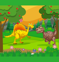 spinosaurus and t-rex in the field vector image vector image