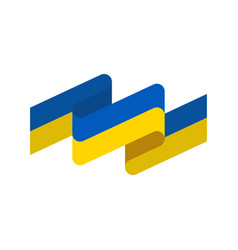 ukraine flag ribbon isolated ukrainian banner vector image vector image