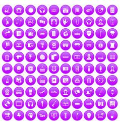 100 microphone icons set purple vector